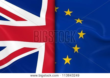 Flags Of The Uk And The European Union Split Down The Middle - 3D Render Of The United Kingdom Flag