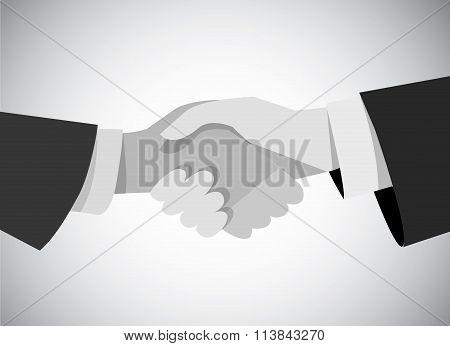 Handshake business man hand gray scale flat.