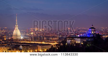 Turin (torino) Panorama With Mole Antonelliana And Alps