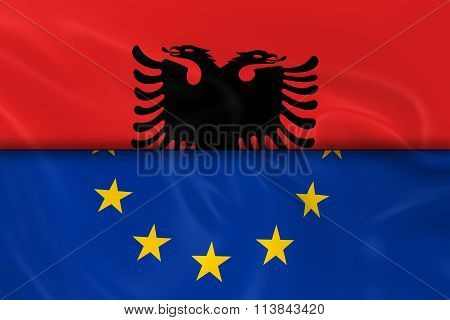 Flags Of Albania And The European Union Split In Half - 3D Render Of The Albanian Flag And Eu Flag W