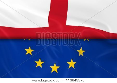 Flags Of England And The European Union Split In Half - 3D Render Of The English Flag And Eu Flag Wi