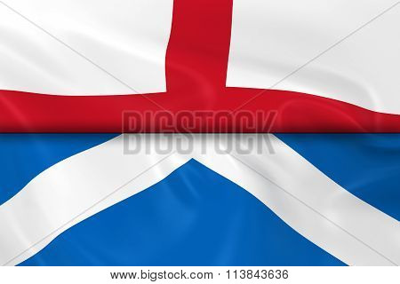 Flags Of England And Scotland Split In Half - 3D Render Of The English Flag And Scottish Flag With S