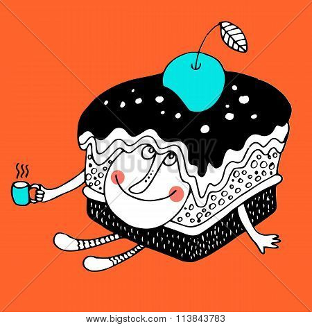 Nice comic cartoon character of cake