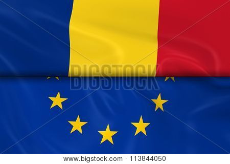 Flags Of Romania And The European Union Split In Half - 3D Render Of The Romanian Flag And Eu Flag W