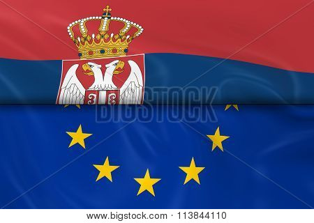 Flags Of Serbia And The European Union Split In Half - 3D Render Of The Serbian Flag And Eu Flag Wit