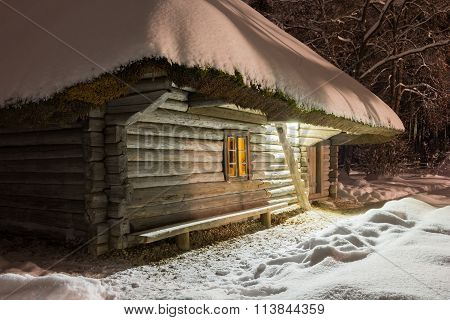House in the winter night