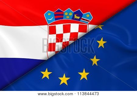 Flags Of Croatia And The European Union Divided Diagonally - 3D Render Of The Croatian Flag And Eu F