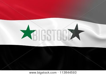 Syrian Crisis Concept Image - 3D Render of the Flag of Syria Fading into Greyscale 3D Illustration