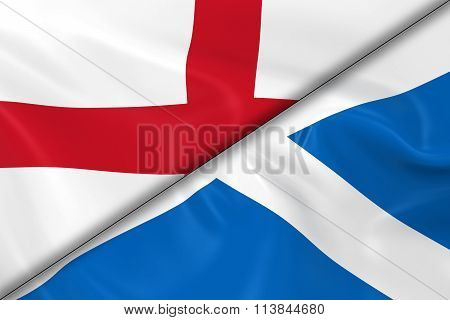 Flags Of England And Scotland Divided Diagonally - 3D Render Of The English Flag And Scottish Flag W