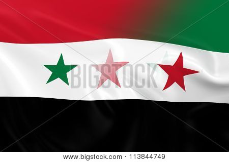 Syrian Crisis Concept Image - Flags of the Syrian Government and Syrian Opposition Fading Together 3D Illustration