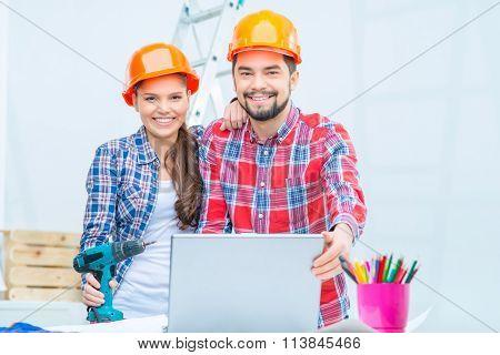 Loving couple preparing for renovation