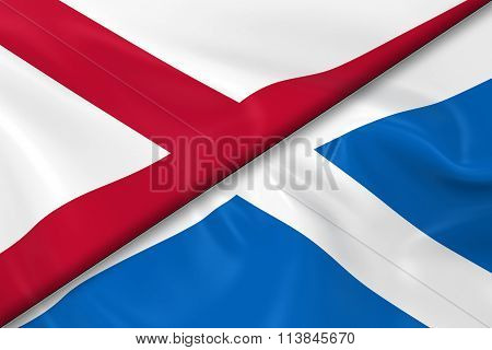 Flags Of Northern Ireland And Scotland Divided Diagonally - 3D Render Of The Northern Irish Flag And