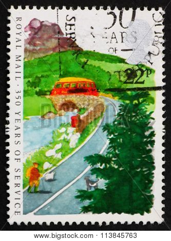 Postage Stamp Gb 1985 Postbus On Country Road