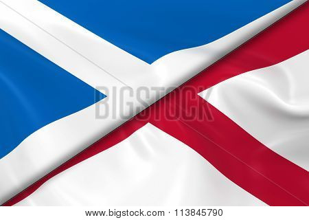 Flags Of Scotland And Northern Ireland Divided Diagonally - 3D Render Of The Scottish Flag And North