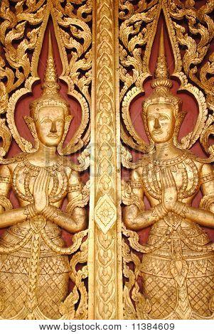 Thai style door of Buddhist church