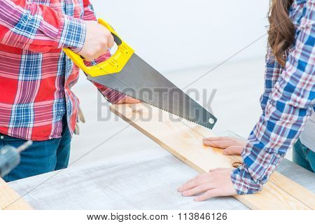 Pleasant man   working with wood