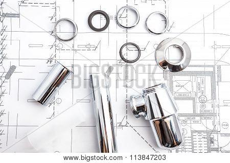 Floor Plan With An Chrome Siphon