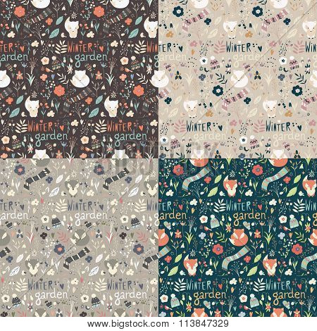 Collection Of Four Seamless Patterns With Winter Garden Flowers, Foxes And Scarf, Hat And Mittens