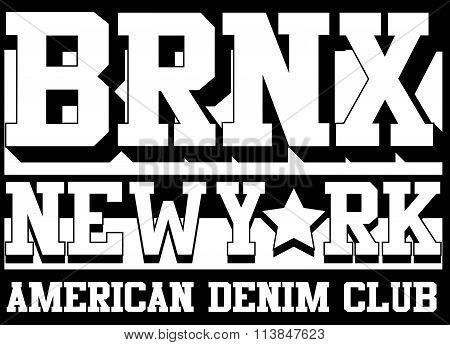 Bronx New York Typography, T-shirt Graphics, Vectors