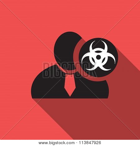 Biohazard Black Man Silhouette Icon On The Vintage Red Background, Long Shadow Flat Design Icon For
