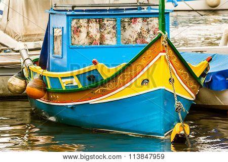 Luzzu boat, Marsaxlokk harbor, Malta