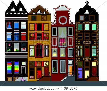 Vector Set Of Houses In The Dutch Style. Different Color And Shape Old Houses. Facades Of Houses In
