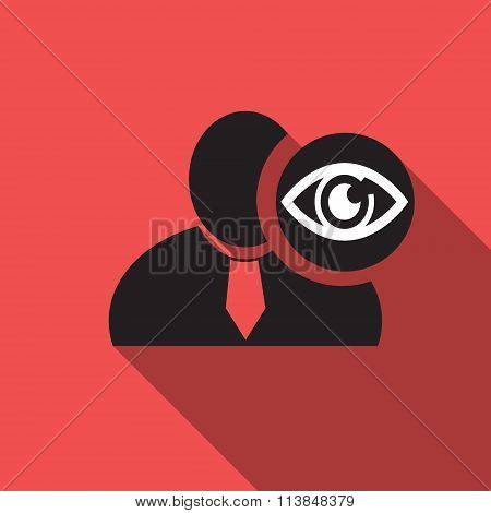 Eye Black Man Silhouette Icon On The Vintage Red Background, Long Shadow Flat Design Icon For Forums