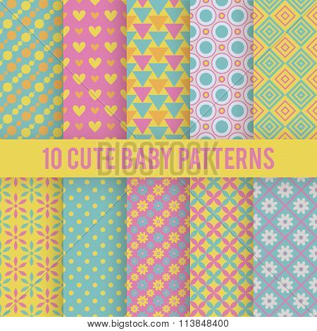 Retro kids vector seamless patterns. Endless texture