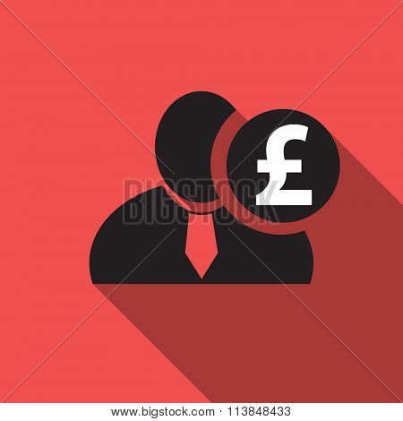 British Pound Black Man Silhouette Icon On The Vintage Red Background, Long Shadow Flat Design Icon