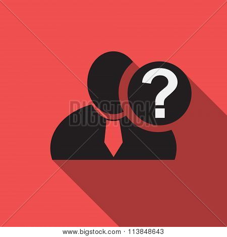 Question Mark Black Man Silhouette Icon On The Red Vintage Background, Long Shadow Flat Design Icon