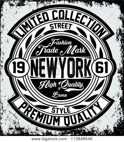 Vintage New York Typography, T-shirt Graphics, Vectors