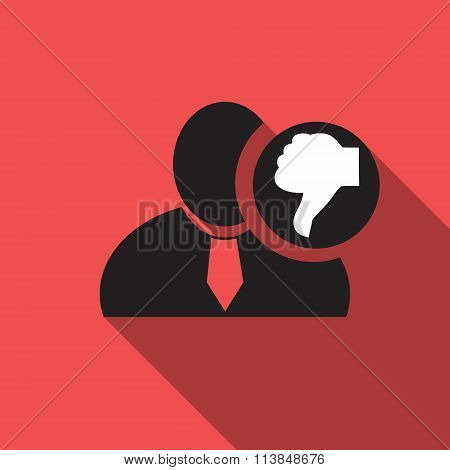 Thumb Down Black Man Silhouette Icon On The Red Vintage Background, Long Shadow Flat Design Icon For