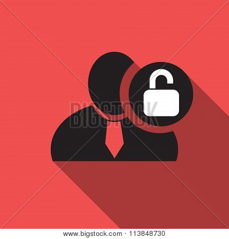 Unlock Black Man Silhouette Icon On The Red Vintage Background, Long Shadow Flat Design Icon For For