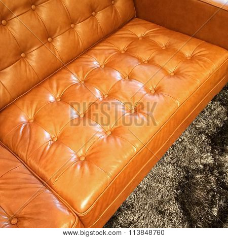 Luxurious Orange Leather Sofa