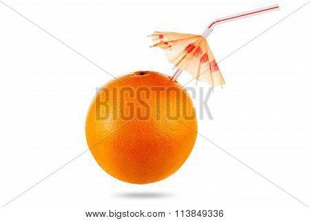 Concept Orange Fruit Juice With Umbrella Isolated On White