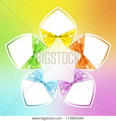 Shapes Of Hearts In Various Colors Whit Ribbon Bow