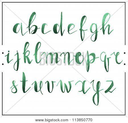 Handwritten calligraphic font alphabet written by a marker