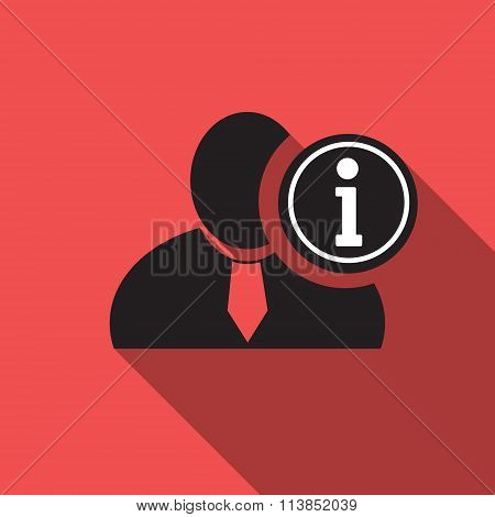 Info Black Man Silhouette Icon On The Vintage Red Background, Long Shadow Flat Design Icon For Forum