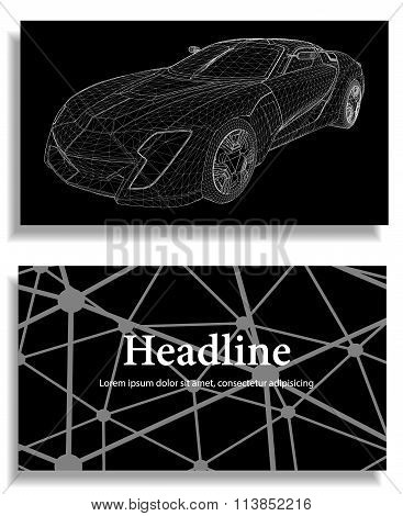Abstract Creative concept vector background of 3d car model. Sports car. Polygonal design style lett