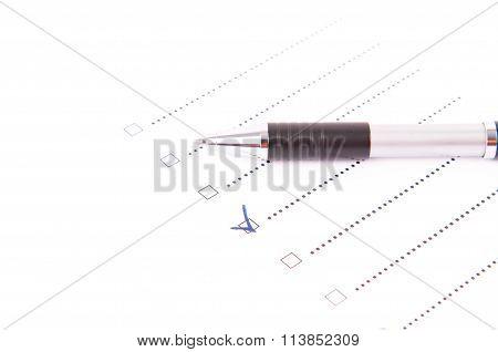 A Pen On A Questionnaire