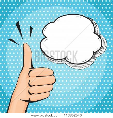 Retro Pop Art Thumb Up Hand Sign, Woman Hand Showing Like With Speech Bubble, Comic Style Vector