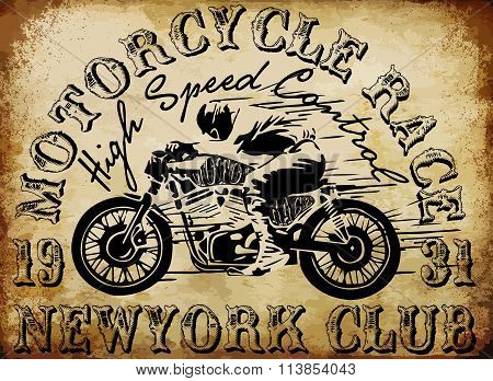 Motorcycle Racing Typography Graphics And Poster. Skull And Old School Bike. T-shirt Design, Vector