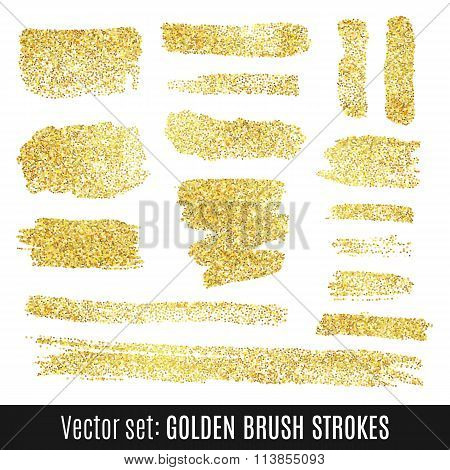 Set of golden watercolor brush stroke isolated on white background