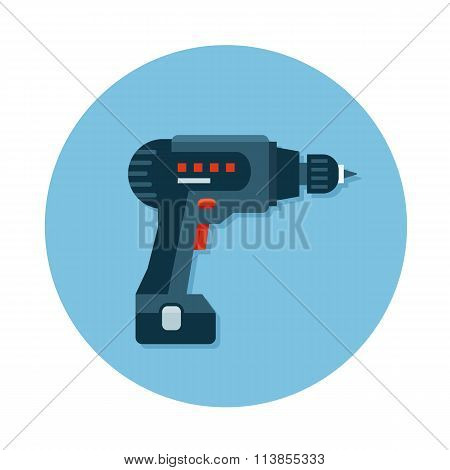Flat icons with construction tool Drill