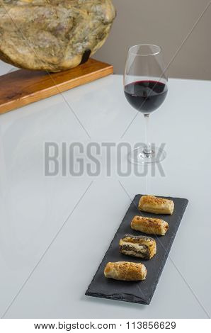 Bellota Ham,  Aperitif And Glass Of Wine.