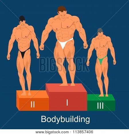 bodybuilding competition concept, vector illustration
