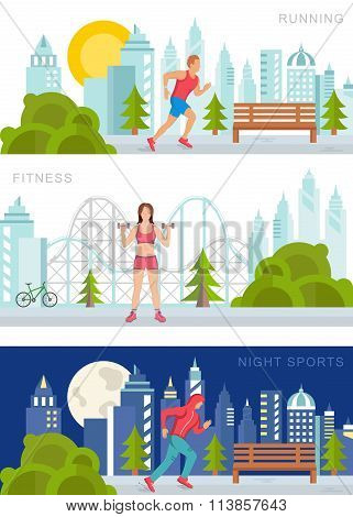 Vector Set Sport And Fitness Banners