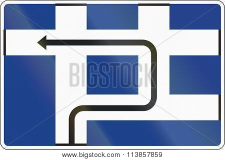 Road Sign Used In Spain - Left Turn Route