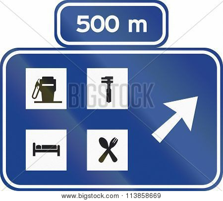 Road Sign Used In Spain - Service Area