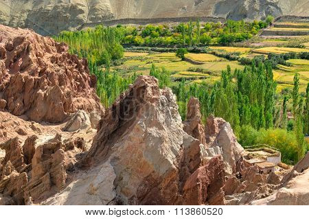 Ancient Ruins At Basgo Monastery, Leh,  Ladakh Landscape, India